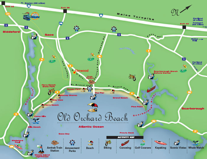 Old Orchard Map Old Orchard Beach Maine Map   Elmwood Motor Court Directions
